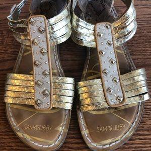 Sam & Libby Gold Sandals Size 9